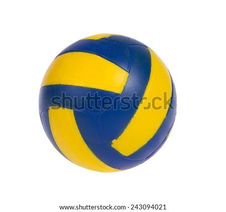 blue and yellow ball isolated on white background