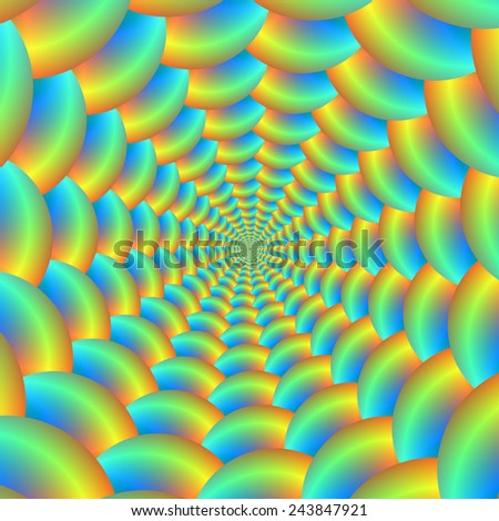 Blue and Yellow Ball Spiral / A digital abstract fractal image with a ball spiral design in blue, turquoise, orange and yellow. - stock photo