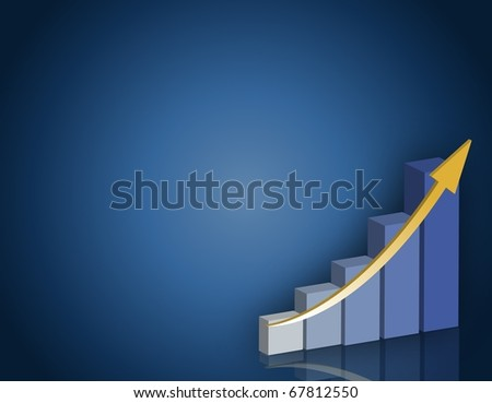 Blue and yellow Business success graph background.