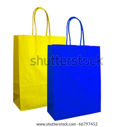 Blue and yellow carrier bag shoppers - isolated