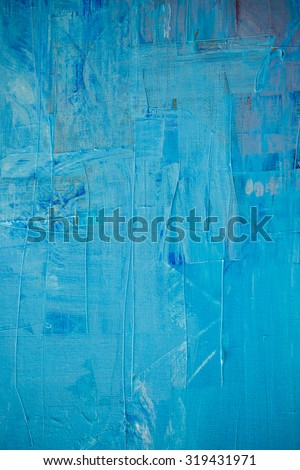 Blue and yellow color oil painting texture. Abstract background - stock photo