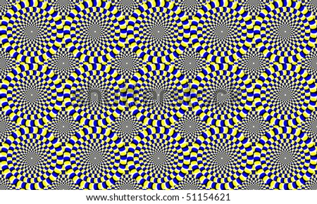 blue and yellow concentric circles, which appear to move. Optical Effect