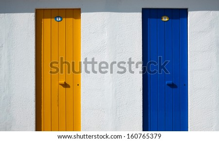 Blue and yellow doors