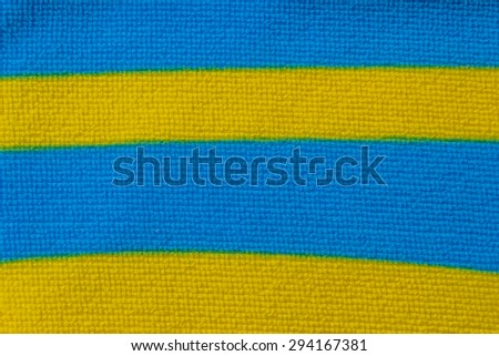 Blue and Yellow Fabric plaid texture. - stock photo