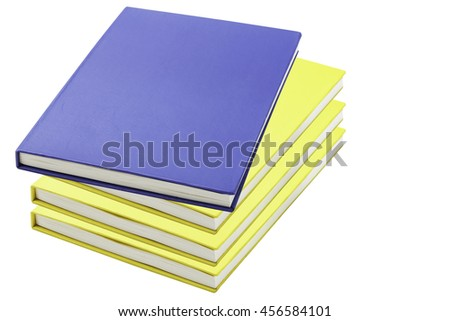 blue and yellow notebook isolated on white background