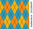 Blue and yellow seamless argyle pattern - stock vector