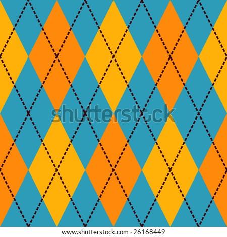 Blue and yellow seamless argyle pattern - stock photo