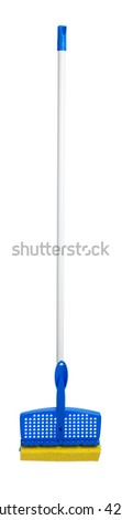 Blue and yellow sponge mop on a white background - stock photo