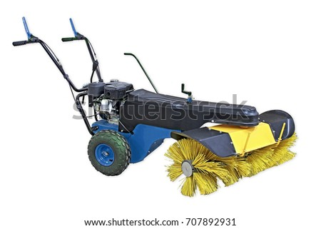 blue and yellow sweeping machine isolated on white background. Manual sweeping machine for offices and streets. Can remove garbage and snow in winter