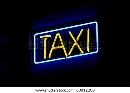 Blue and yellow taxi neon sign