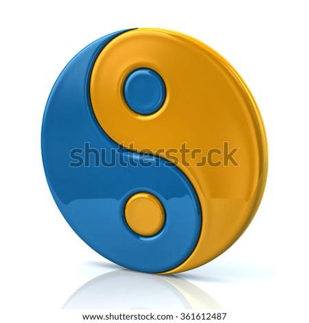 Blue Yellow Ying Yang Symbol Harmony Stock Illustration 361612487
