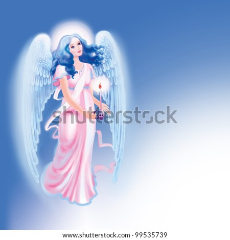 Blue angel on a blue background with candle - stock photo