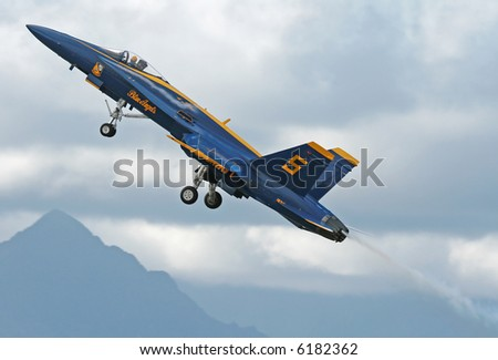 blue angel taking off steeply