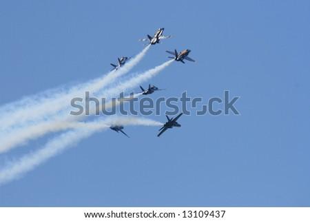 Blue angels F18 hornet precision flying team - stock photo