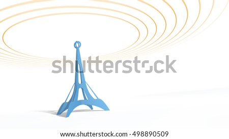 Blue antenna tower with radiowave signal. Vintage style on light background.