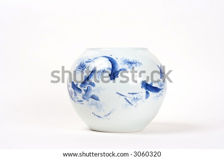 Blue antique hand painted Chinese vase - stock photo