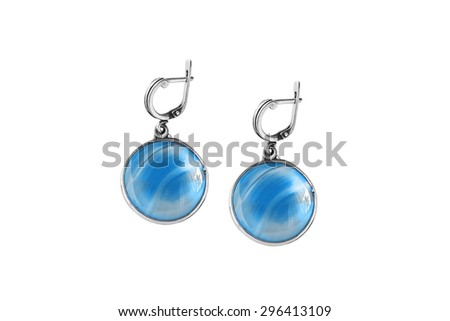 Blue aquamarine earrings isolated over white - stock photo