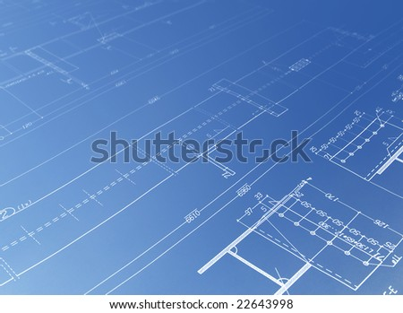 blue architecture plan - stock photo