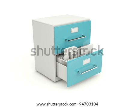 Blue archive cabinet icon isolated on white - stock photo