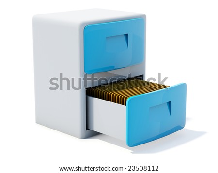 Blue archive icon isolated on white - stock photo