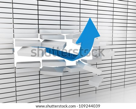Blue arrow breaking through a white brick wall. - stock photo