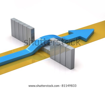 Blue arrow breaks through a barrier - stock photo