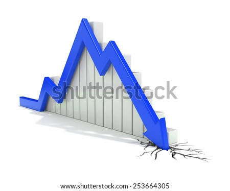 blue arrow crash - stock photo
