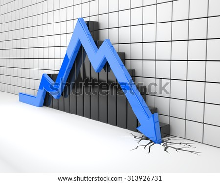 Blue arrow crashes through the ground - stock photo