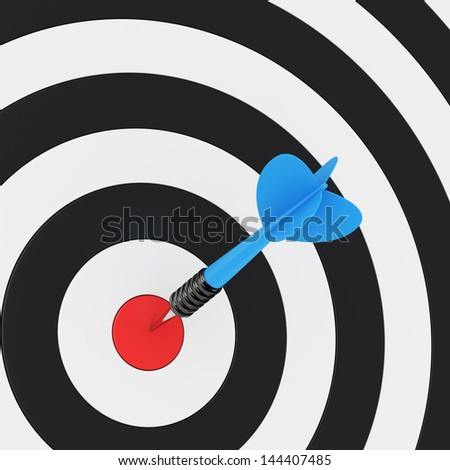 Blue arrow in the center of dartboard
