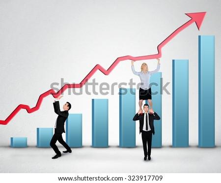 Blue arrow report growth statistics - stock photo
