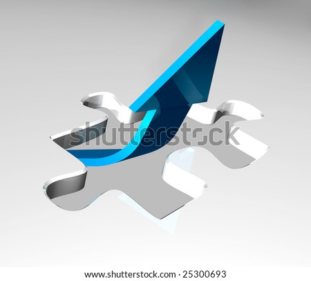 Blue arrow - success concept - stock photo