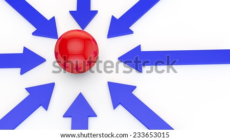 blue arrows on a white background point to the red sphere in the center of the image - stock photo