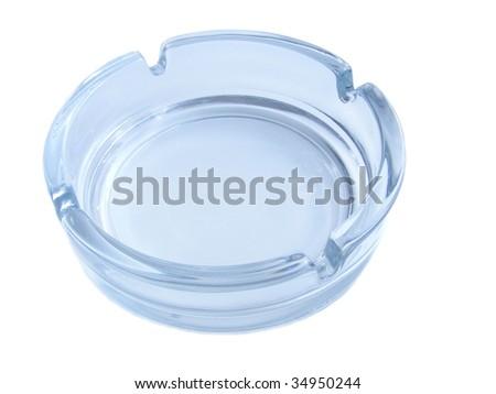 blue ashtray on a white background - stock photo