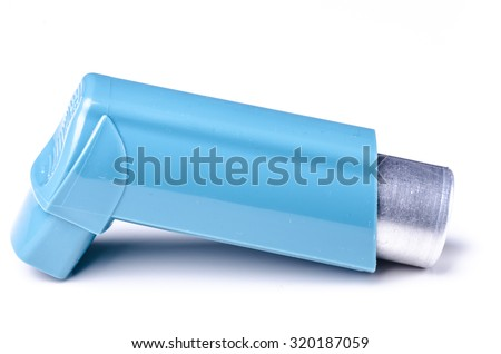 Blue asthma drug inhaler on white background studio shot - stock photo
