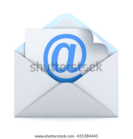 Blue at sign mail on paper in envelope E mail concept isolated on white background. 3D rendering. - stock photo
