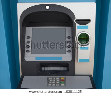 blue ATM machine - front view - stock photo