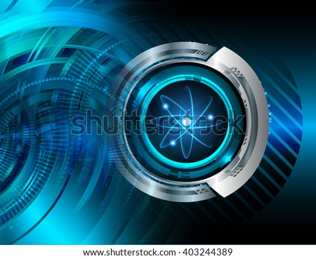 Blue atom, nuclear, fusion abstract hi speed internet technology background illustration. eye scan virus computer