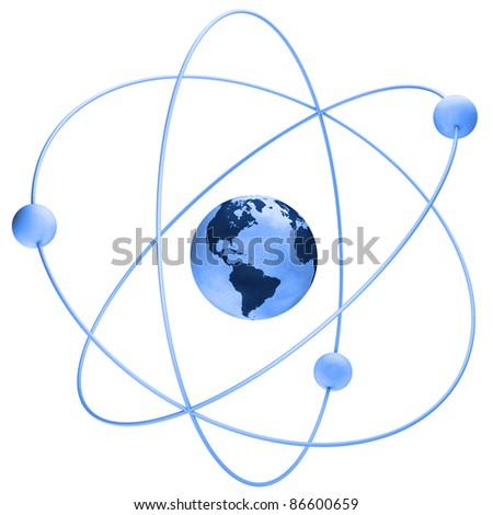 Blue atom symbol with a globe - stock photo