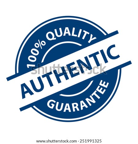 Blue Authentic 100% Quality Sign, Icon, Label or Sticker Isolated on White Background  - stock photo