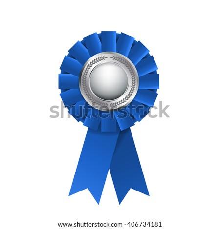 Blue award rosette isolated on a white background. Award ribbon - stock photo