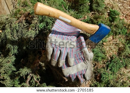 Blue Axe with workman gloves - stock photo