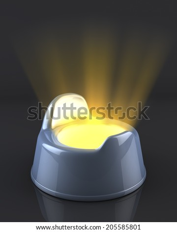 Blue baby boy potty on reflecting black background, with light beams shining out of it, strange, unusual depiction of babies first poo, potty-training, 3d rendering - stock photo