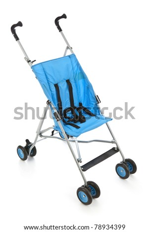 Blue Baby Carriage - stock photo
