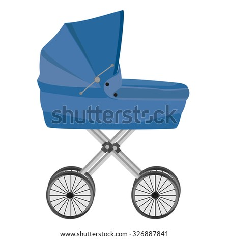 Blue baby carriage isolated on white, baby pram, raster