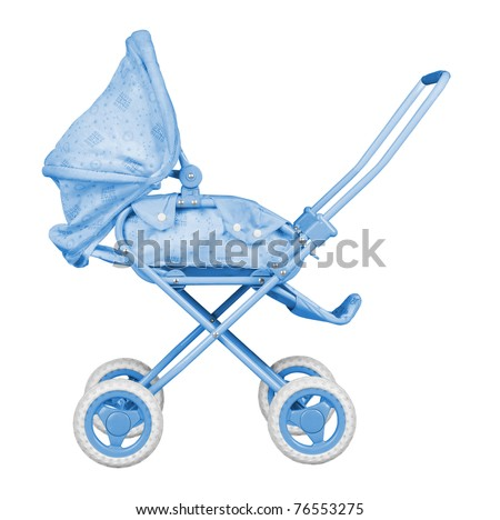 Blue Baby Carriage isolated on white background - stock photo