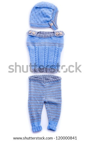 blue baby clothes set isolated on white background