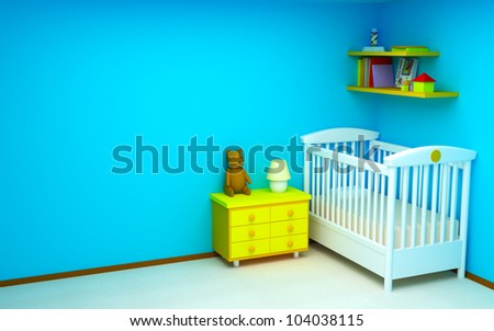 Blue baby's bedroom. Bright colors, empty room - stock photo