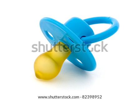 Blue baby's dummy isolated on white - stock photo