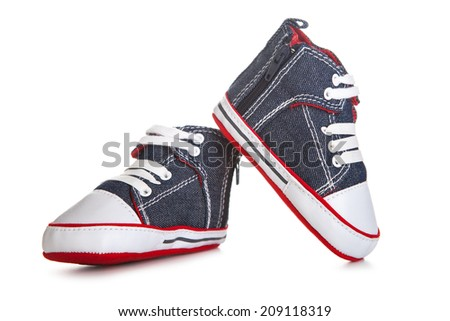 Blue baby shoes - stock photo