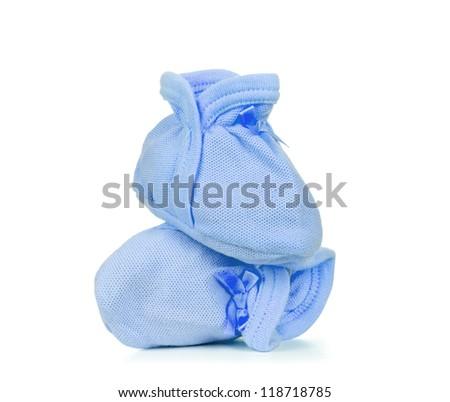 Blue Baby shoes isolated on white background - stock photo